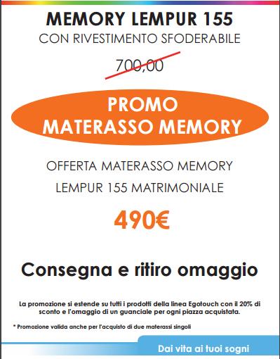 Promozione Primavera 2017 – Materasso Memory Lempur