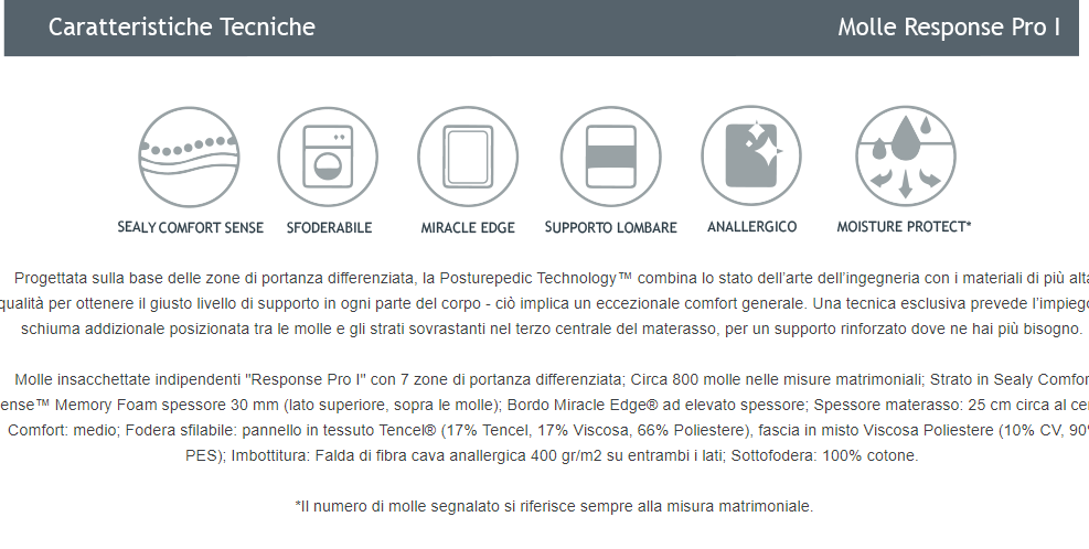 Promozione  EVOLUTION  POASTURE PEDIC TECHNOLOGY SEALY