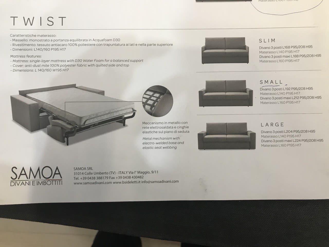 divani letto con materasso cm 18 colori a scelta